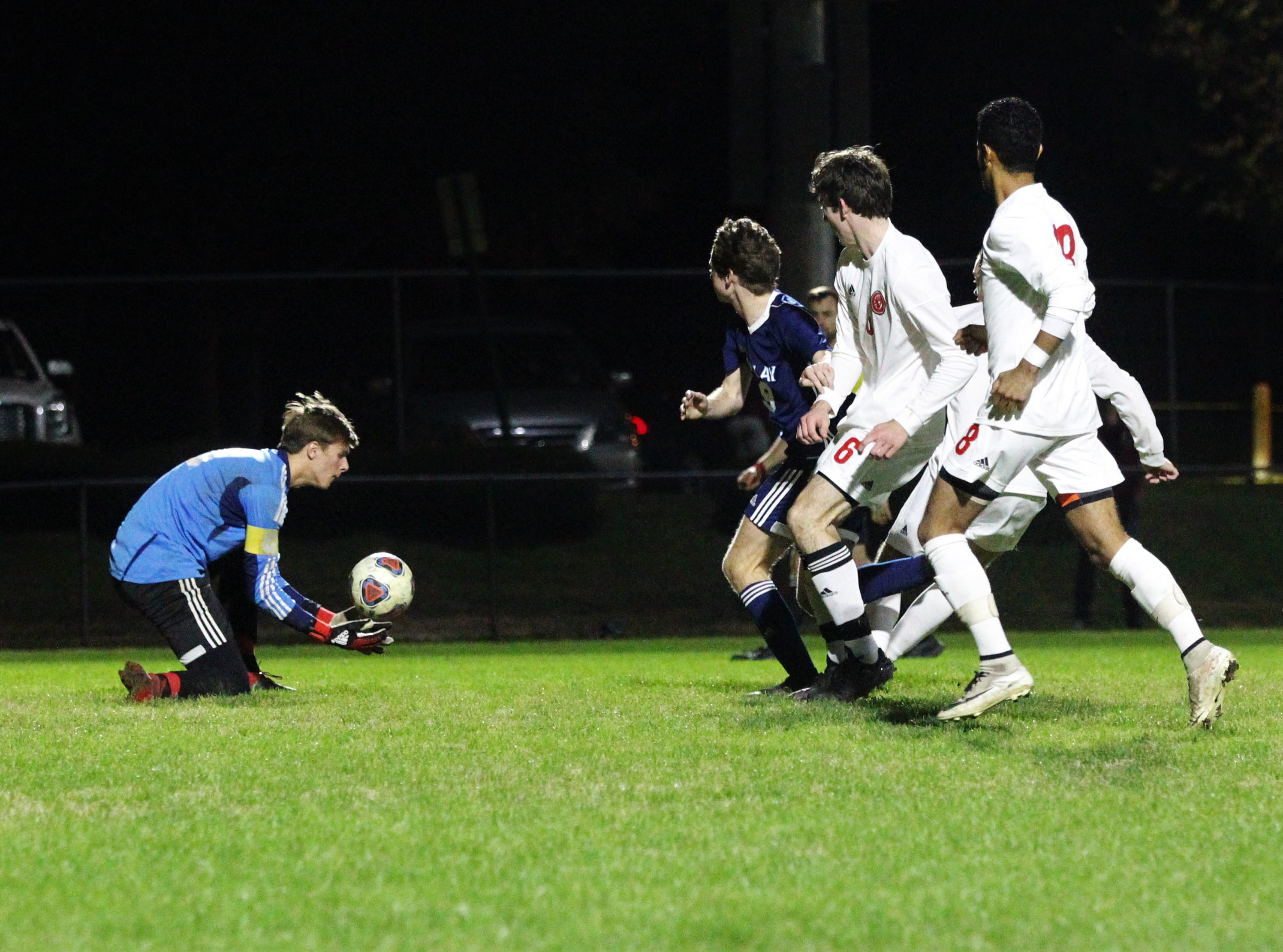 Leon goalie Sam Schaefer snags a cross into the box as Leon's boys soccer team beat Maclay 3-1 on Jan. 22, 2019.