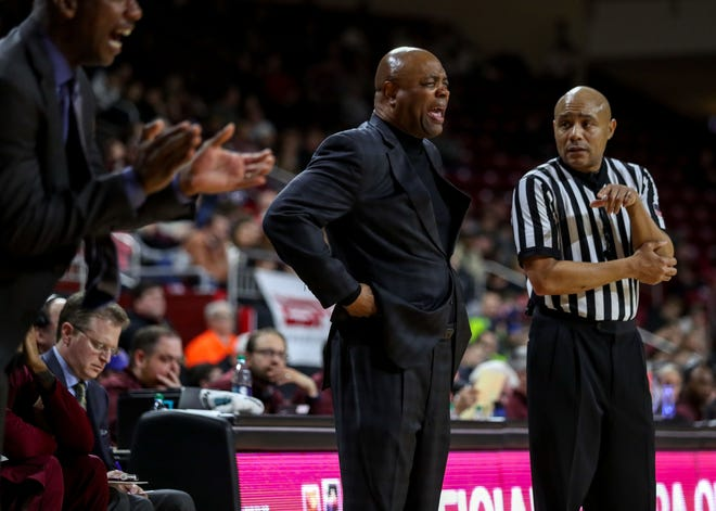 Jan 20, 2019; Chestnut Hill, MA, USA; Florida State Seminoles head coach Leonard Hamilton reacts against the Boston College Eagles during the second half at Conte Forum. Mandatory Credit: Paul Rutherford-USA TODAY Sports