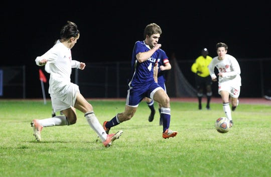 Maclay's Jordan Pichard tracks down a pass as Leon's boys soccer team beat Maclay 3-1 on Jan. 22, 2019.