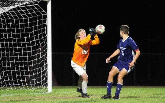 Maclay keeper Hudson Williams makes a punch save of a shot, but Leon's boys soccer team beat Maclay 3-1 on Jan. 22, 2019.