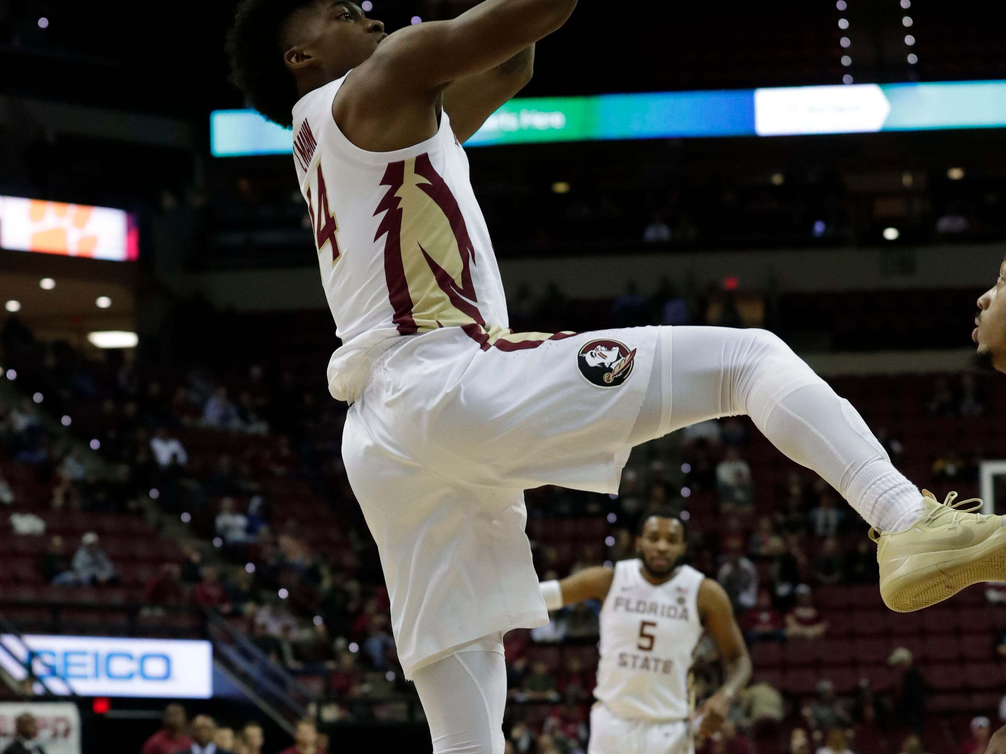 Florida State Seminoles guard Terance Mann (14) shoots for two. The Florida State Seminoles face off against the Clemson Tigers at the Tucker Civic Center, Tuesday, Jan. 22, 2019.