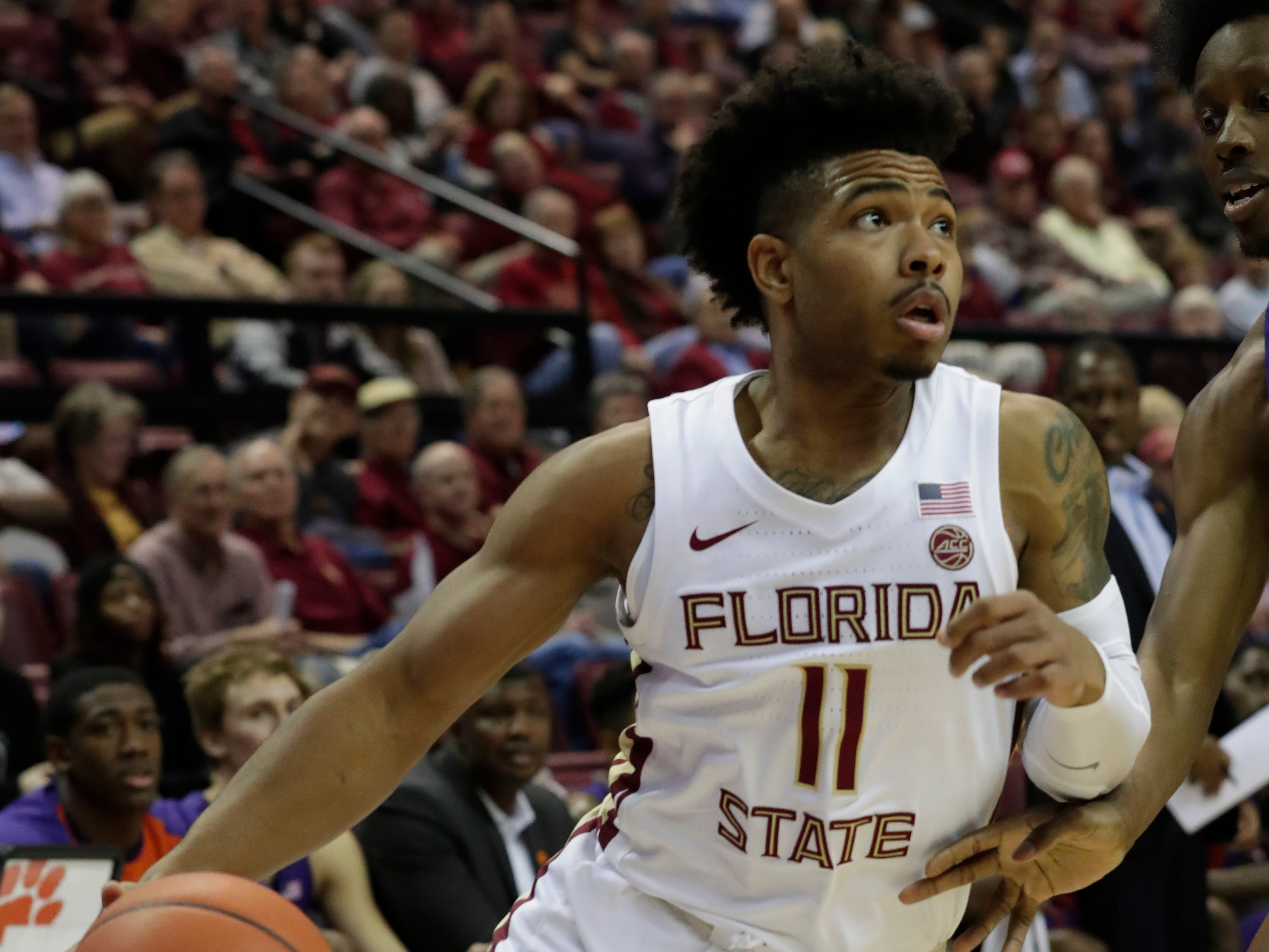 Florida State Seminoles guard David Nichols (11) looks to the hoop for an opportunity to score. The Florida State Seminoles face off against the Clemson Tigers at the Tucker Civic Center, Tuesday, Jan. 22, 2019.