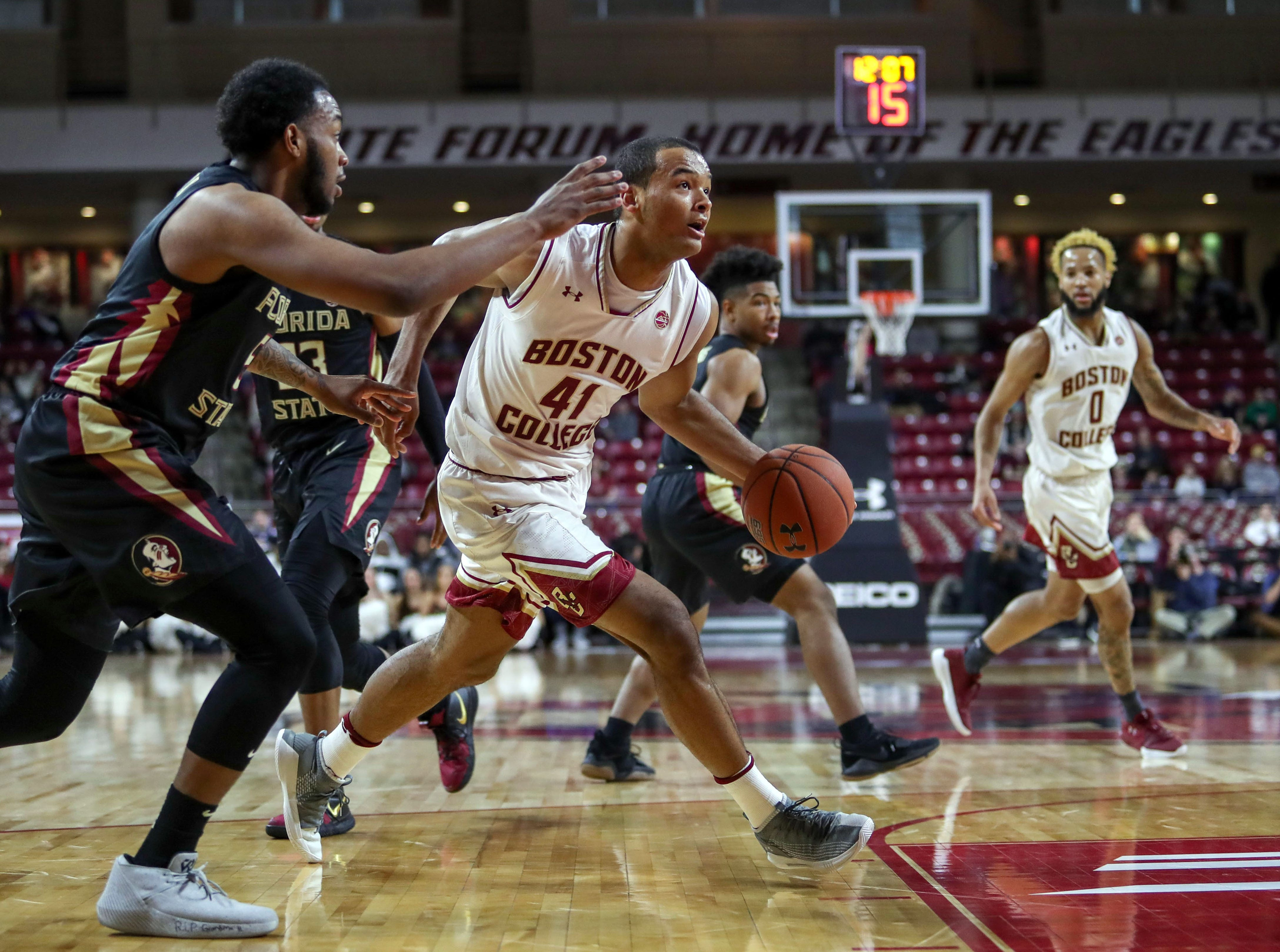 Jan 20, 2019; Chestnut Hill, MA, USA; Boston College Eagles forward Steffon Mitchell (41) drives to the basket against the Florida State Seminoles during the first half at Conte Forum. Mandatory Credit: Paul Rutherford-USA TODAY Sports