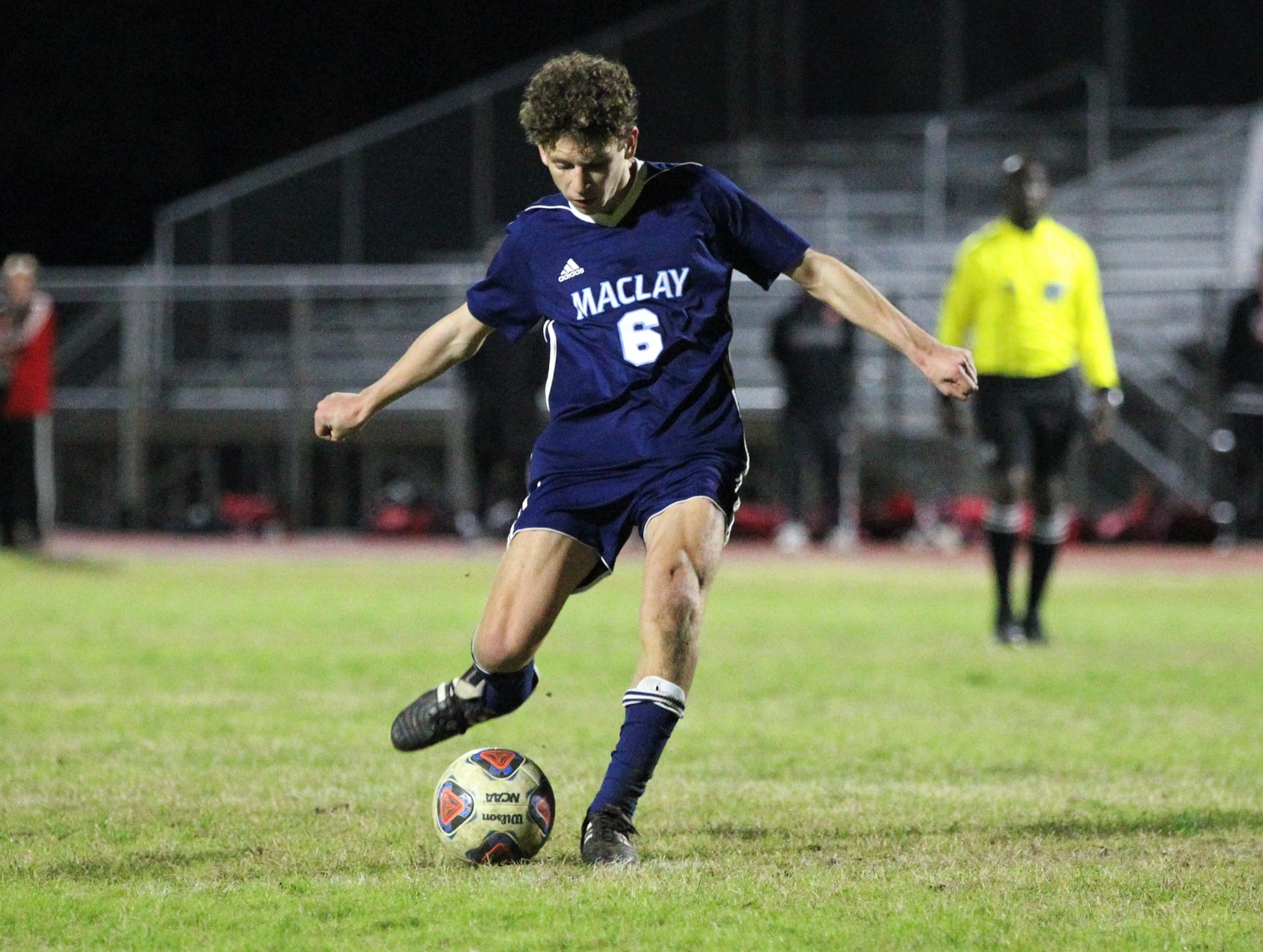 Maclay's Andrew Daunt takes a free kick that hits the post as Leon's boys soccer team beat Maclay 3-1 on Jan. 22, 2019.