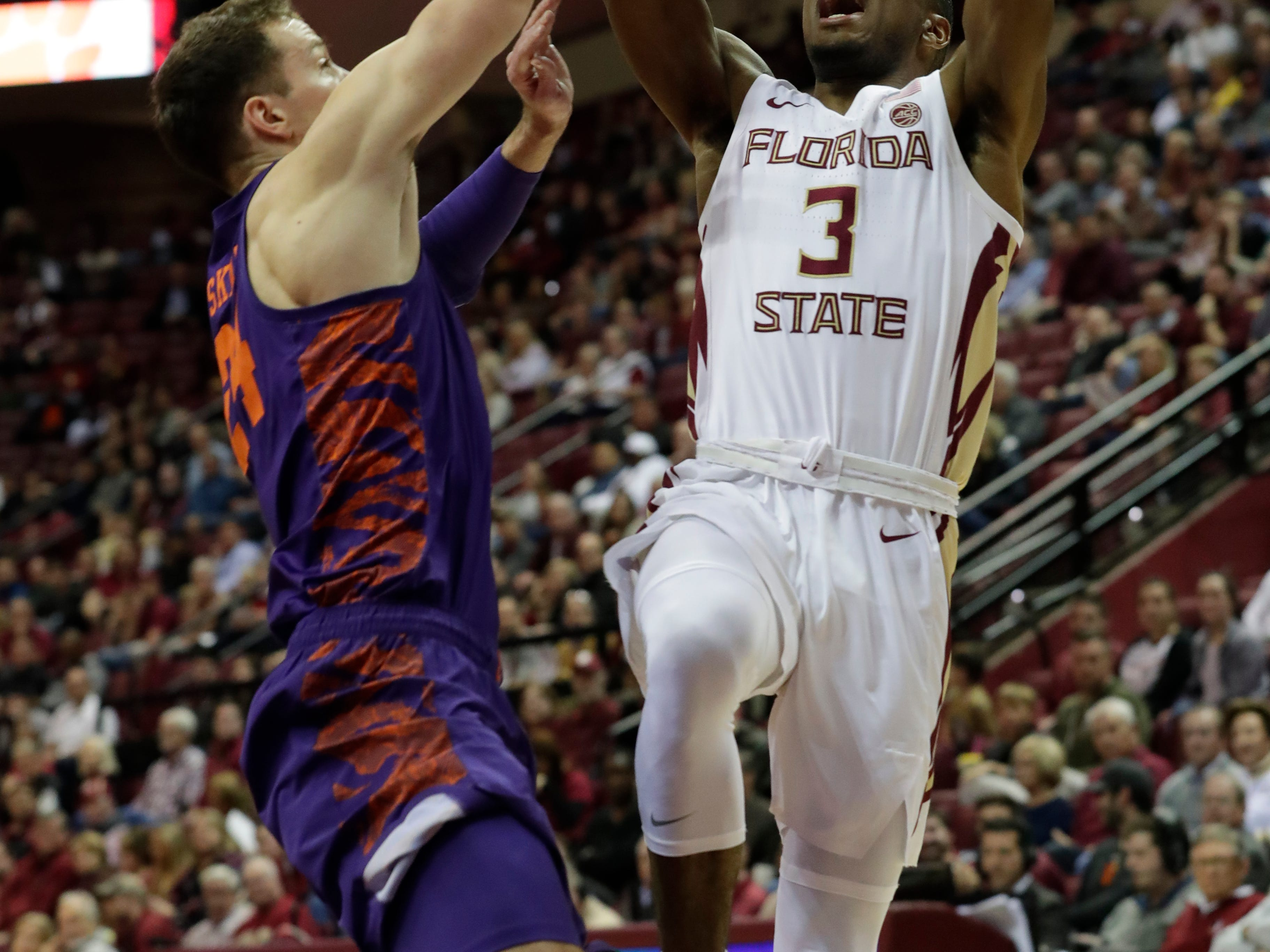 Florida State Seminoles guard Trent Forrest (3) goes in for a layup. The Florida State Seminoles face off against the Clemson Tigers at the Tucker Civic Center, Tuesday, Jan. 22, 2019.