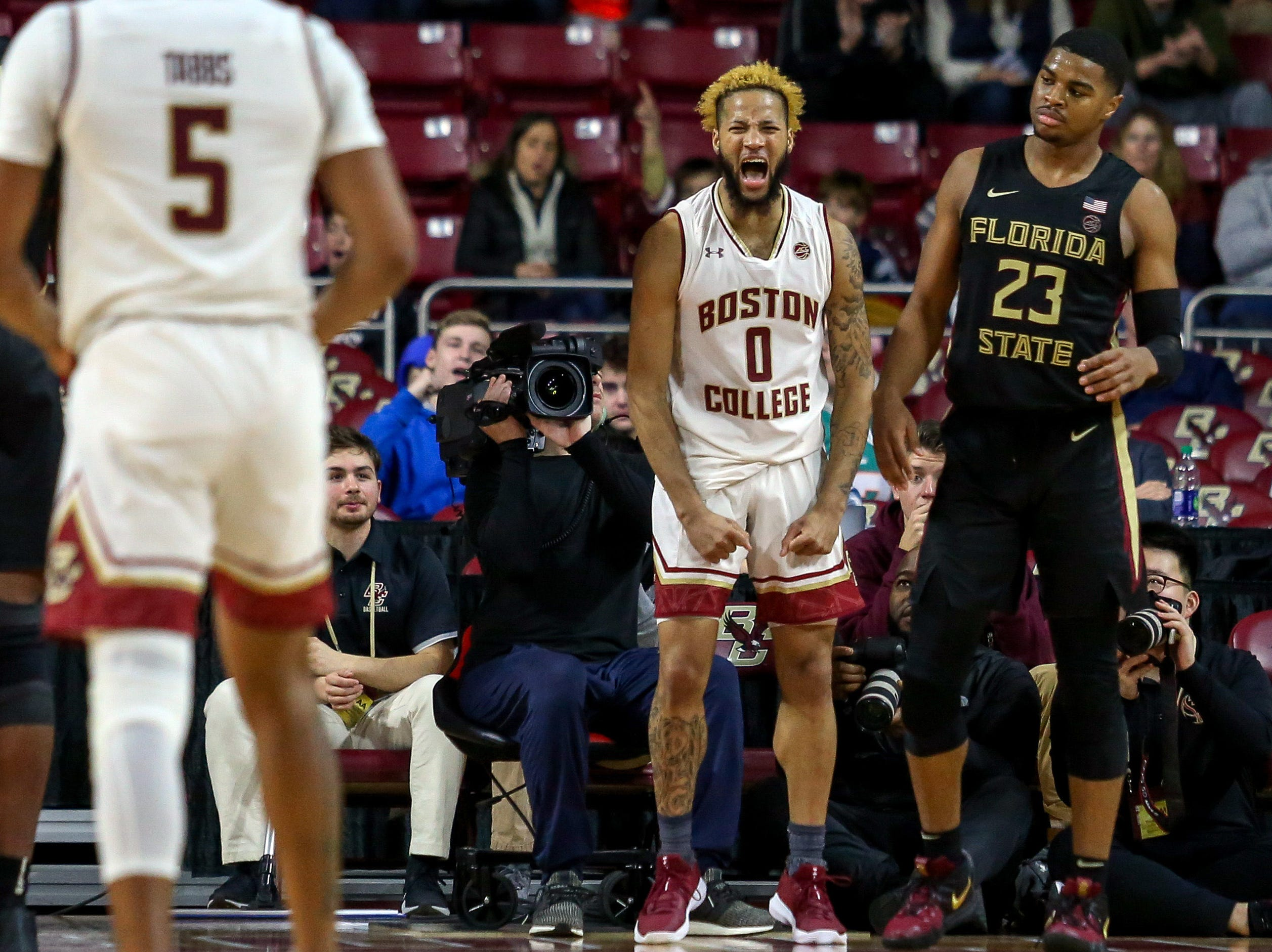 Jan 20, 2019; Chestnut Hill, MA, USA; Boston College Eagles guard Ky Bowman (0) reacts against the Florida State Seminoles during the second half at Conte Forum. Mandatory Credit: Paul Rutherford-USA TODAY Sports