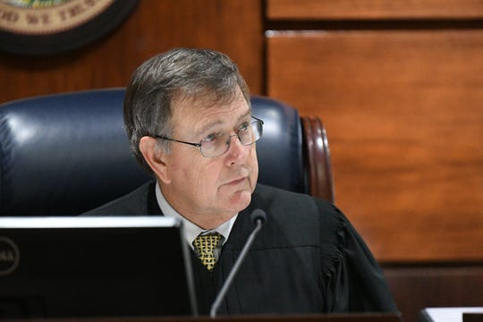 Wednesday, Jan. 23, 2019, Judge James C. Hankinson listens as defense attorney for Denise Williams, Ethan Way, argues for the motion to interview the six male jurors from Williams' trial in December. Williams was found guilty for the murder of her husband Mike Williams.