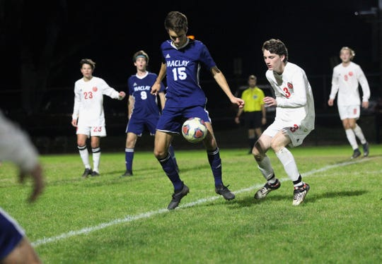 Maclay's Mateus Bitencourt tries to bring down a ball in front of Leon's Tanner Powell as Leon's boys soccer team beat Maclay 3-1 on Jan. 22, 2019.