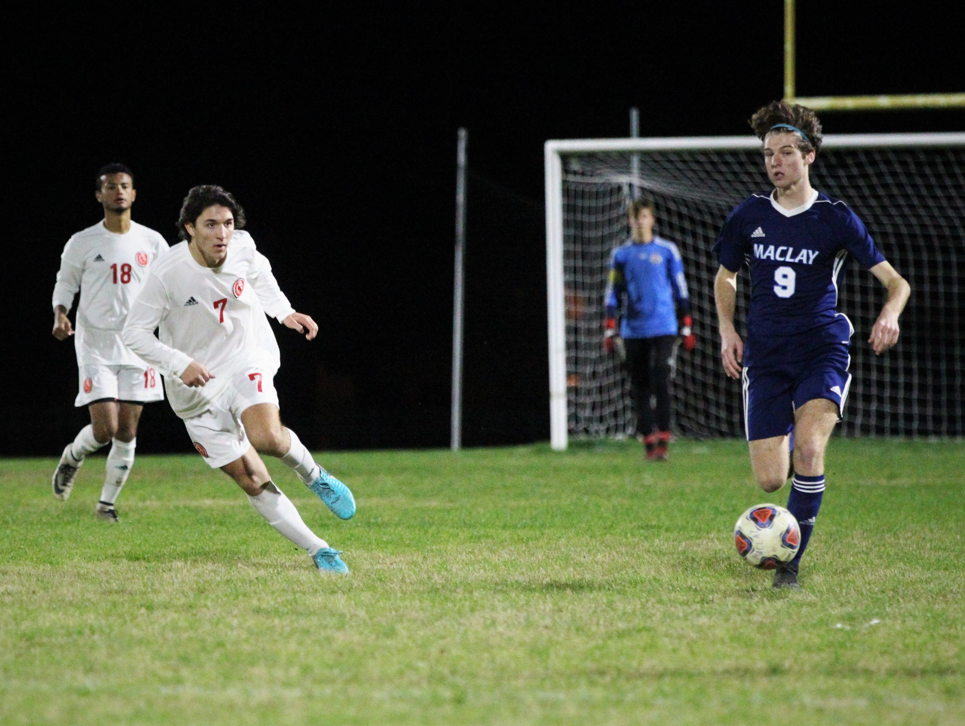 Maclay's Andrew Rentz dribbles up the field as Leon's boys soccer team beat Maclay 3-1 on Jan. 22, 2019.