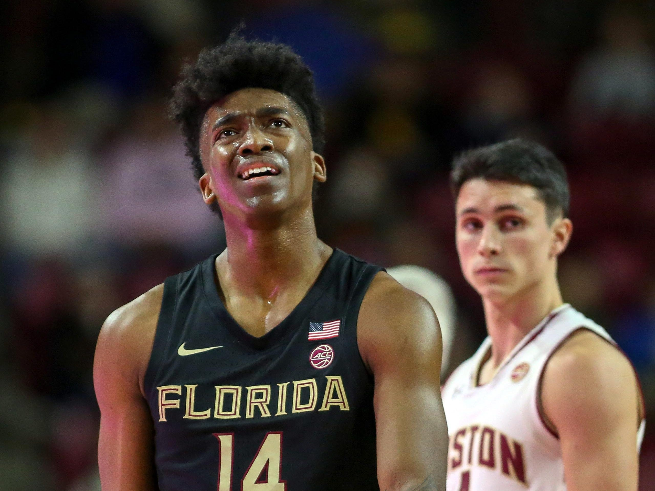 Jan 20, 2019; Chestnut Hill, MA, USA; Florida State Seminoles guard Terance Mann (14) reacts during the first half against the Boston College Eagles at Conte Forum. Mandatory Credit: Paul Rutherford-USA TODAY Sports
