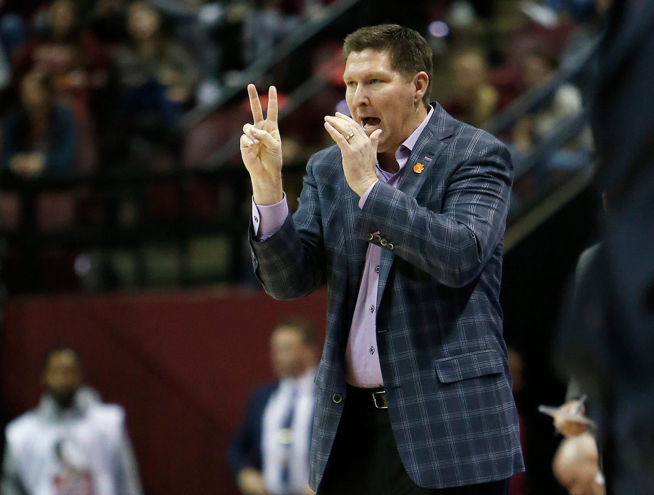 Jan 22, 2019; Tallahassee, FL, USA; Clemson Tigers head coach Brad Brownell  signals to his players during the first half against the Florida State Seminoles at Donald L. Tucker Center. Mandatory Credit: Glenn Beil-USA TODAY Sports