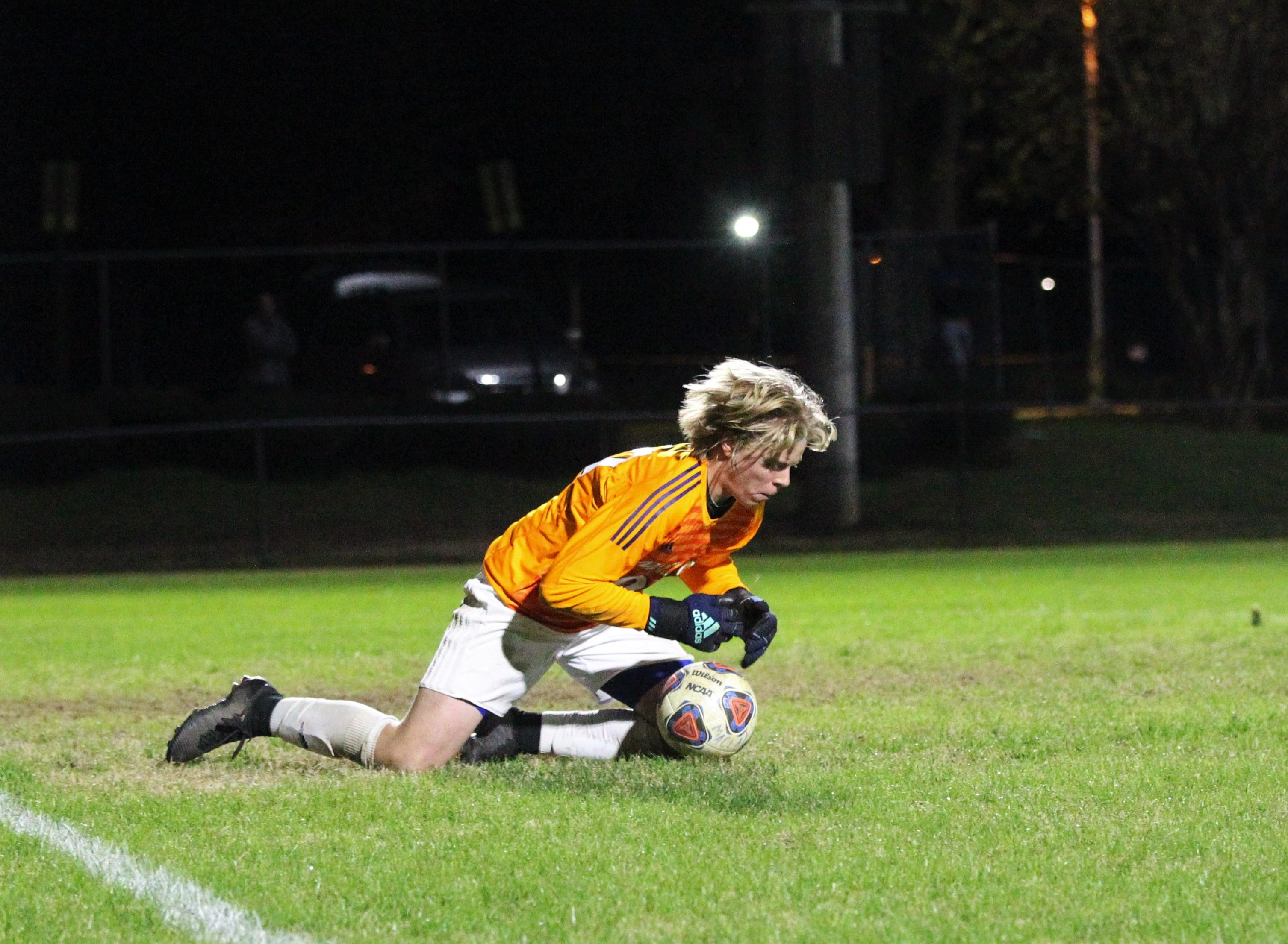 Maclay keeper Hudson Williams comes up with a save, but Leon's boys soccer team beat Maclay 3-1 on Jan. 22, 2019.