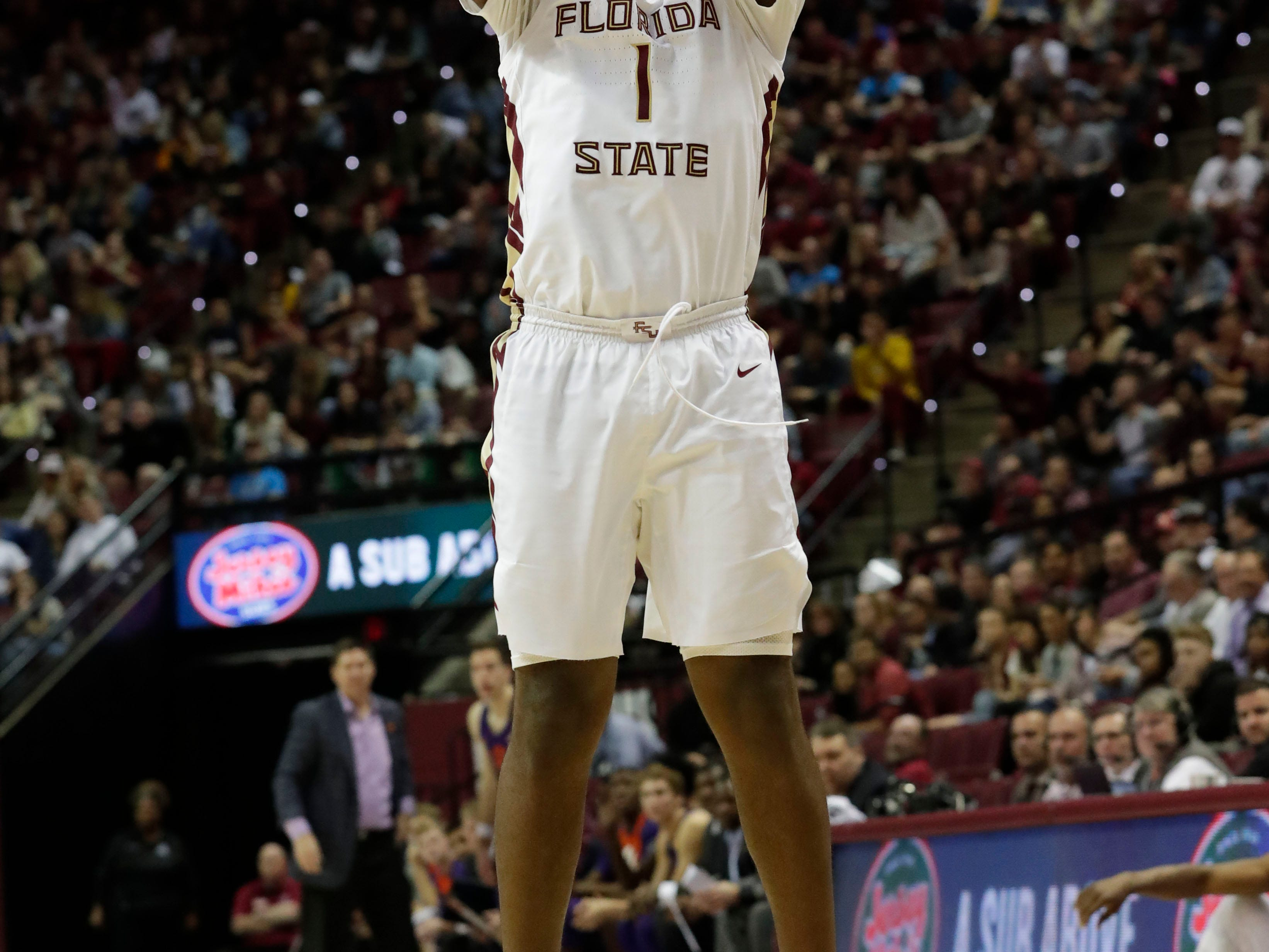 Florida State Seminoles forward Raiquan Gray (1) shoots for three as he left wide open. The Florida State Seminoles face off against the Clemson Tigers at the Tucker Civic Center, Tuesday, Jan. 22, 2019.