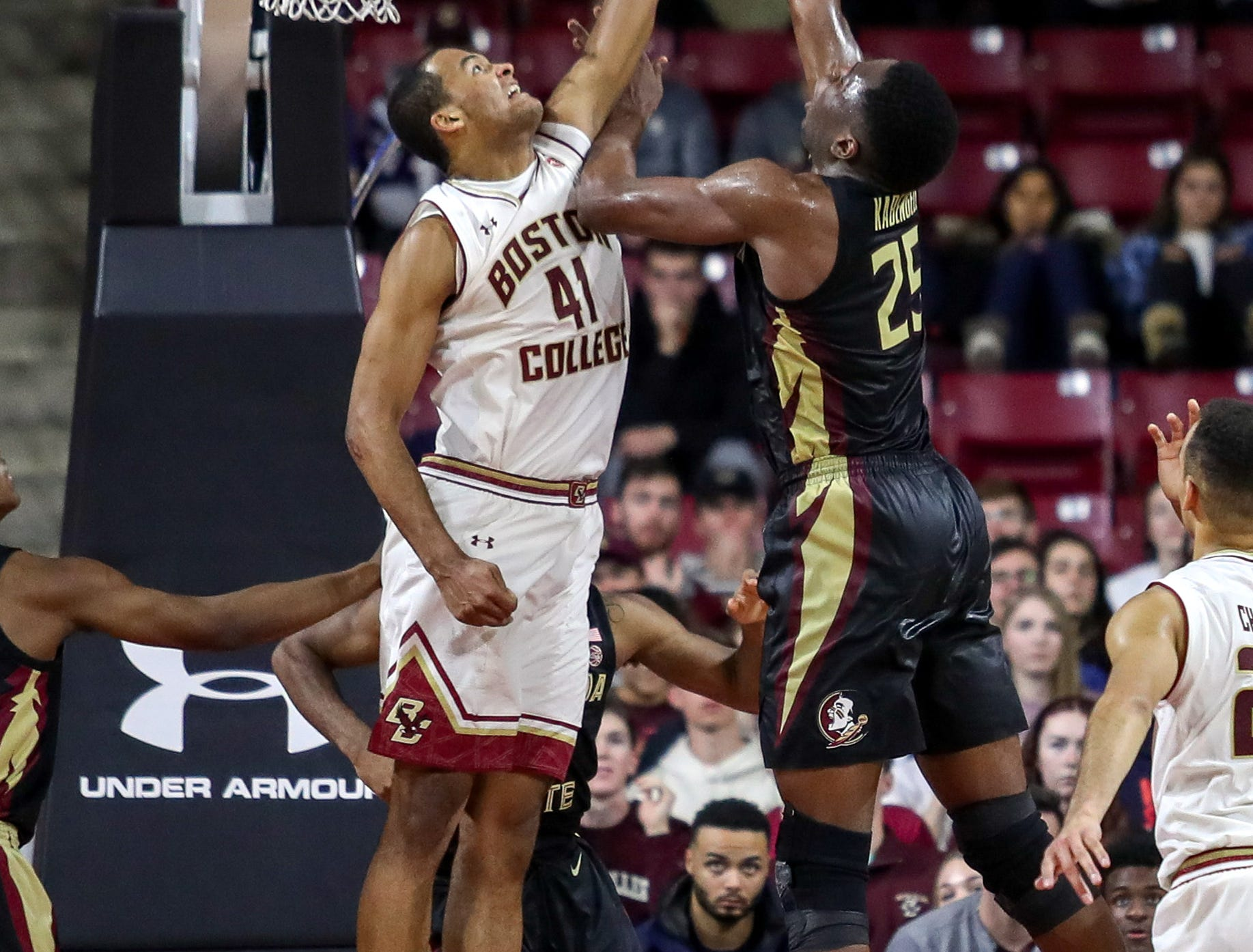 Jan 20, 2019; Chestnut Hill, MA, USA; Boston College Eagles forward Steffon Mitchell (41) blocks Florida State Seminoles forward Mfiondu Kabengele (25) during the second half at Conte Forum. Mandatory Credit: Paul Rutherford-USA TODAY Sports