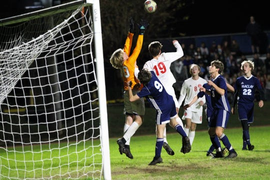 Maclay keeper Hudson Williams leaps to snag a loose ball in the box, but Leon's boys soccer team beat Maclay 3-1 on Jan. 22, 2019.