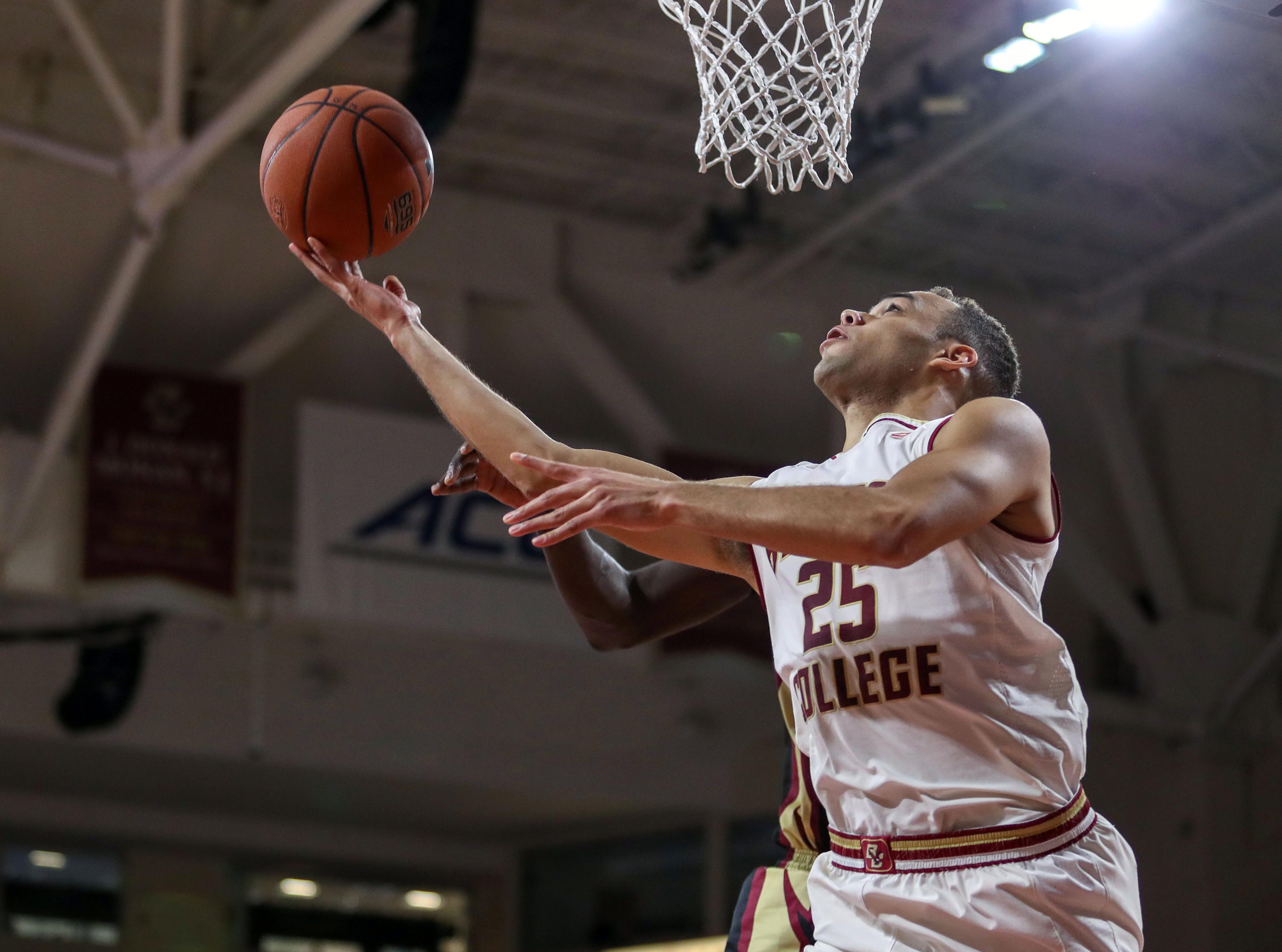 Jan 20, 2019; Chestnut Hill, MA, USA; Boston College Eagles guard Jordan Chatman (25) shoots against Florida State Seminoles during the first half at Conte Forum. Mandatory Credit: Paul Rutherford-USA TODAY Sports