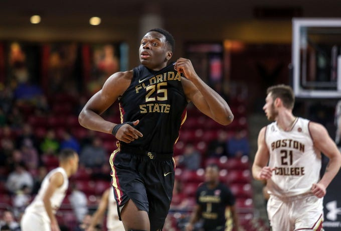 Jan 20, 2019; Chestnut Hill, MA, USA; Florida State Seminoles forward Mfiondu Kabengele (25) reacts after hitting a basket against the Boston College Eagles during the first half at Conte Forum. Mandatory Credit: Paul Rutherford-USA TODAY Sports