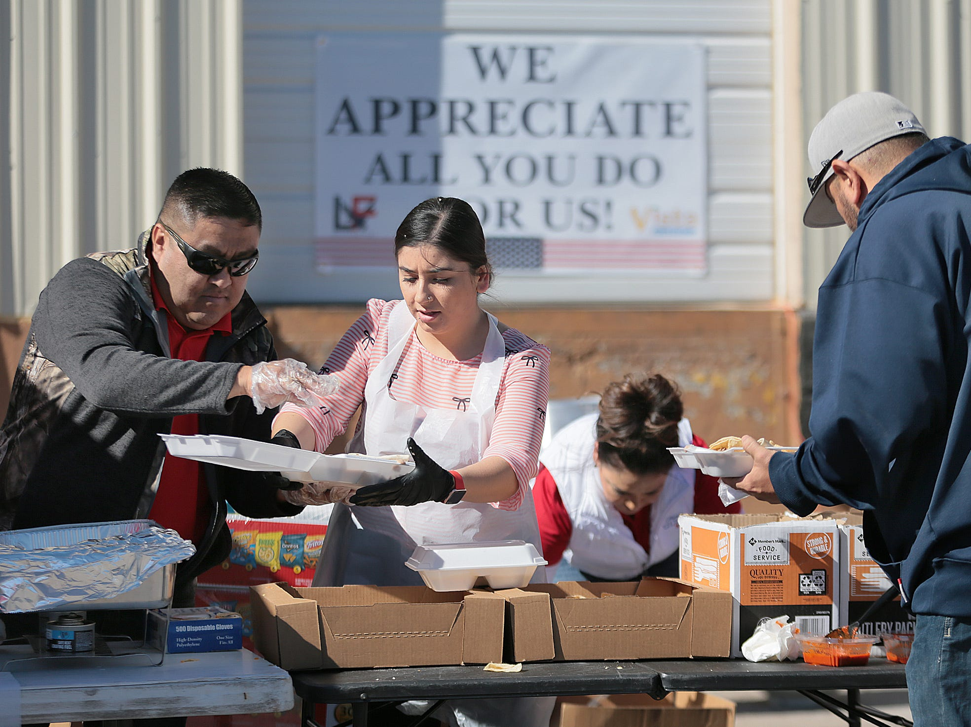 L&F Distributors and Vista Market teamed up to host a barbecue for furloughed federal workers Wednesday. Gift cards were donated by Cabo Joe's, Pizza Hut and Wing Daddy's and raffled off at the event.