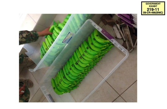 "In this 2014 photo provided by the U.S. Attorney's Office for the Eastern District of New York, drug-filled plastic bananas discovered in a raid on one of the Sinaloa safe houses in Mexico are shown. The photo was offered as evidence in the New York trial of Mexican drug kingpin, Joaquin ""El Chapo"" Guzman on Thursday, Jan. 17, 2019."