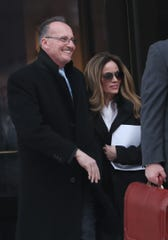 Former Harrison police chief Anthony Marraccini leaves U.S. District Court in White Plains with his wife Tabatha after pleading guilty to tax evasion Jan. 23, 2019.