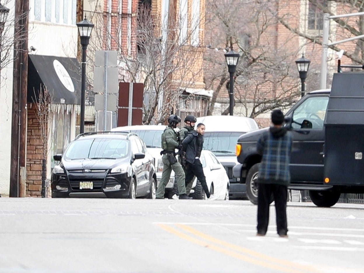 Police arrest a suspect in the active shooter situation Tuesday afternoon in Salem, N.J.
