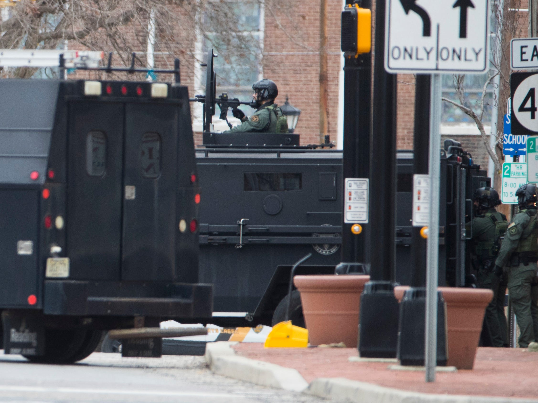 Police on scene at a an active shooter scene that lead to a standoff with law enforcement on the 100 block of East Broadway Street in Salem, N.J. Wednesday Jan. 23, 2019. The suspect was arrested