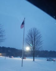 An upside-down American flag was photographed Wednesday morning at Wisconsin Rapids Area Middle School. School officials say the flag was inverted in error and was corrected as soon as they were notified.