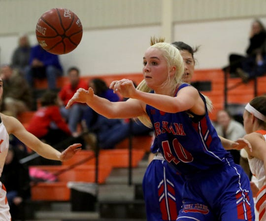 Graham's Cammi Teplicek passes in the game against Burkburnett Tuesday, Jan. 22, 2019, in Burkburnett. The Lady Blues defeated the Lady Bulldogs 55-47.