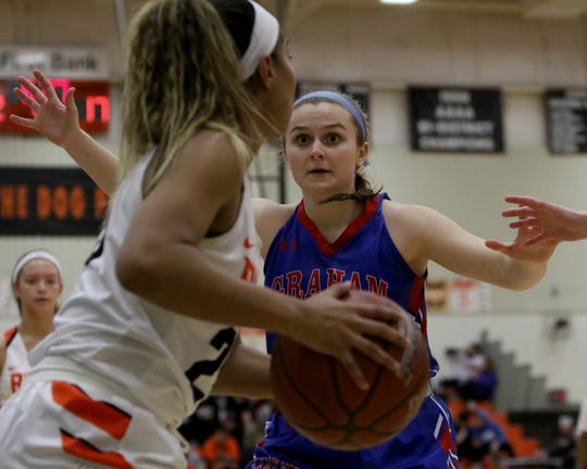 Graham's Claire Jones guards Burkburnett's Eternity Jackson Tuesday, Jan. 22, 2019, in Burkburnett. The Lady Blues defeated the Lady Bulldogs 55-47.