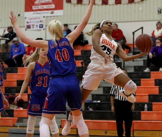 Burkburnett's Eternity Jackson goes for a layup in the game against Graham Tuesday, Jan. 22, 2019, in Burkburnett. The Lady Blues defeated the Lady Bulldogs 55-47.