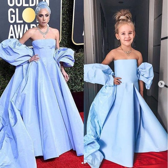Alya Chaglar's 5-year-old daughter  models a re-creation of Lady Gaga's Valentino dress she wore at the Golden Globes .
