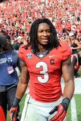 Rams RB Todd Gurley while playing for the  Georgia Bulldogs.
