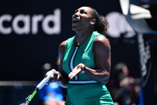 Serena Williams reacts during her loss to Karolina Pliskova in the quarterfinals of the Australian Open on Wednesday.