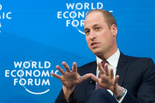 Prince William during a panel on mental health during the annual World Economic Forum, in Davos, Switzerland, Jan. 23, 2019.