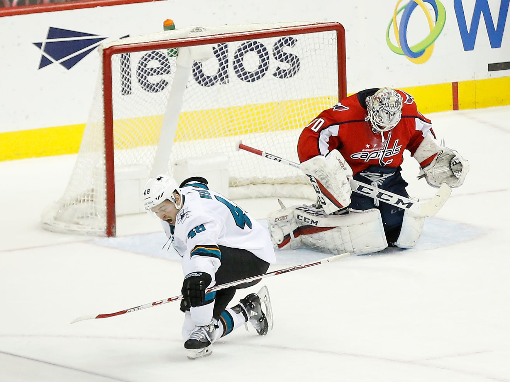 Jan. 22: San Jose Sharks center Tomas Hertl celebrates after scoring the game-winning goal on Washington Capitals goaltender Braden Holtby (70) in overtime at Capital One Arena.