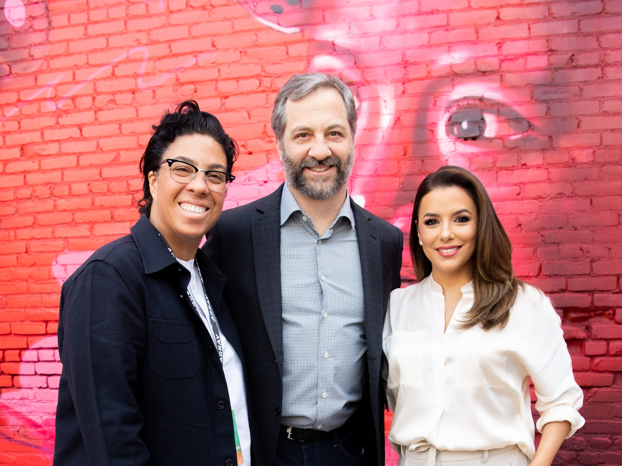 LOS ANGELES, CALIFORNIA - JANUARY 22: Angela Robinson, Judd Apatow and Eva Longoria attend the 3rd annual National Day of Racial Healing at Array on January 22, 2019 in Los Angeles, California. (Photo by Emma McIntyre/Getty Images) ORG XMIT: 775286570 ORIG FILE ID: 1098157904