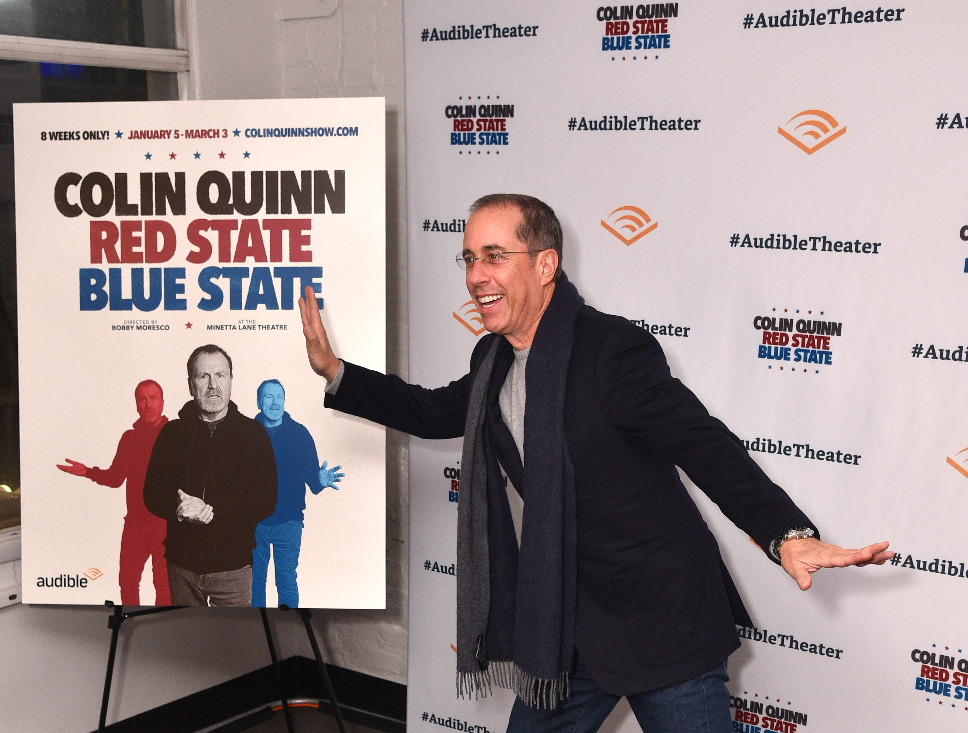 """NEW YORK, NY - JANUARY 22:  Jerry Seinfeld attends the Opening Night for Colin Quinn's """"Red State Blue State"""" at Audible's Minetta Lane Theatre in NYC at the Minetta Lane Theatre on January 22, 2019 in New York City.  (Photo by Bryan Bedder/Getty Images for Audible) ORG XMIT: 775284383 ORIG FILE ID: 1086481380"""
