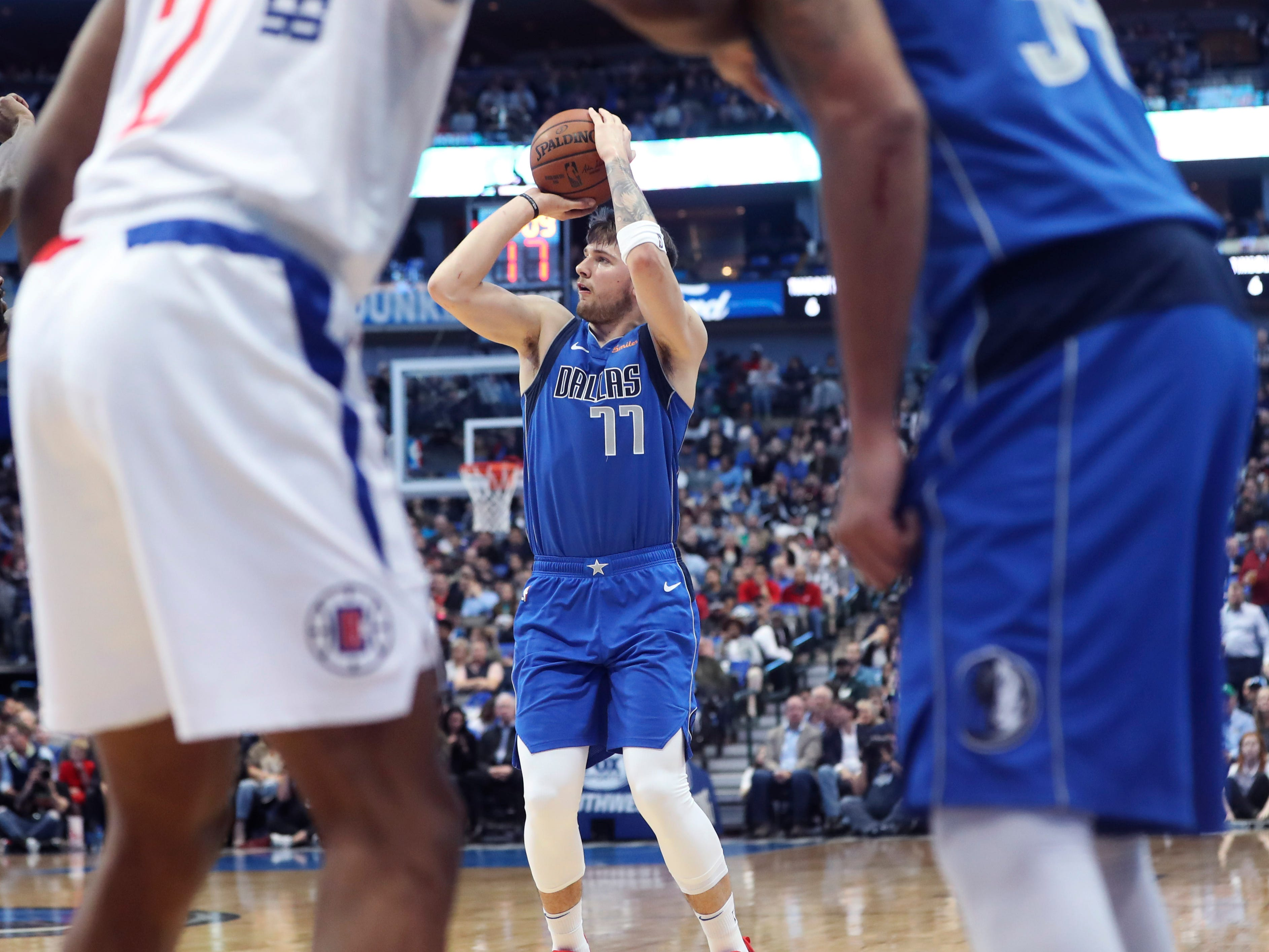 Jan. 22: Mavericks forward Luka Doncic puts up a shot during the first half against the Clippers in Dallas.