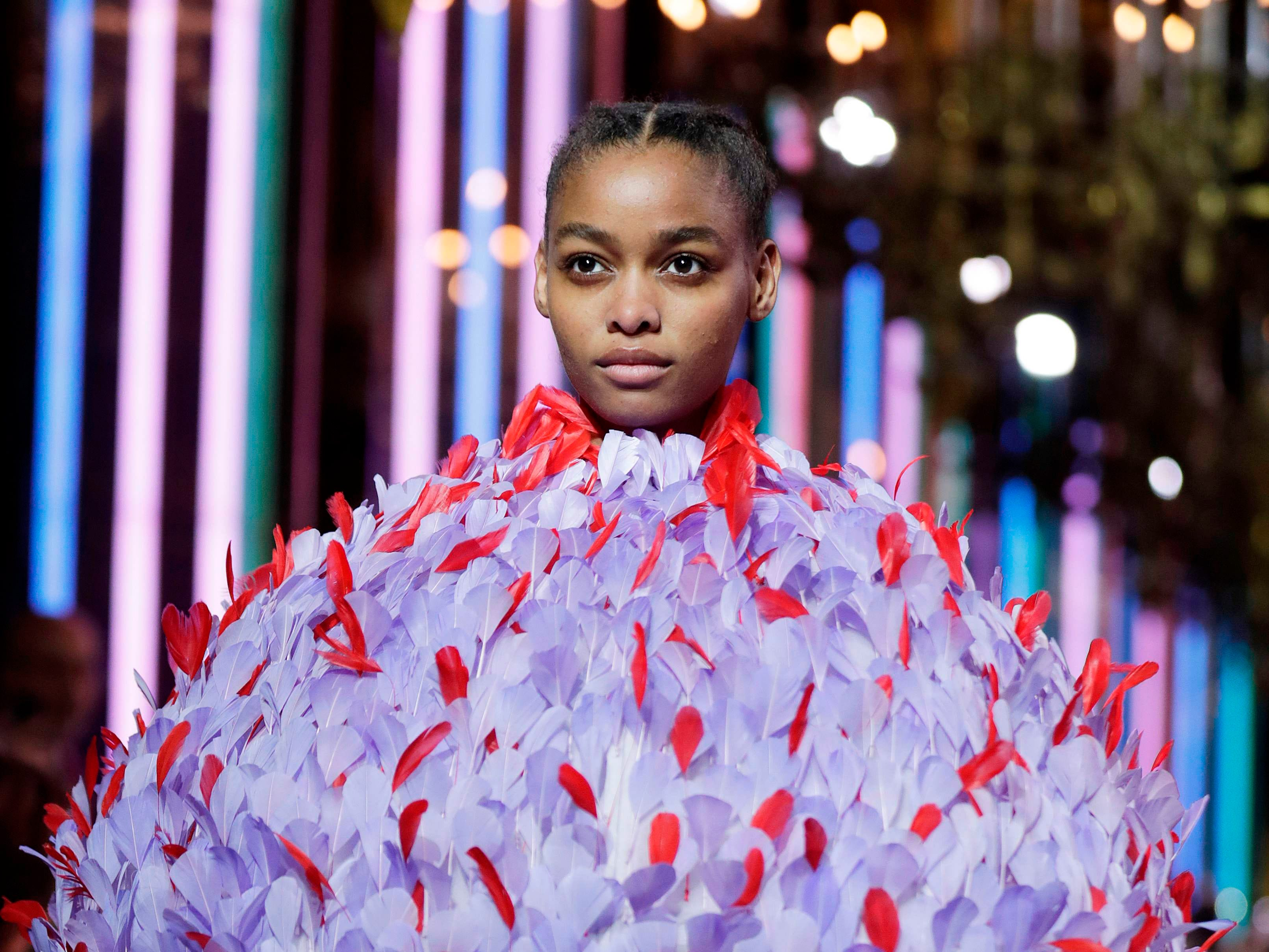 A model presents a creation by Schiaparelli during the 2019 Spring-Summer Haute Couture collection fashion show in Paris, on January 21, 2019. (Photo by Thomas SAMSON / AFP)THOMAS SAMSON/AFP/Getty Images ORIG FILE ID: AFP_1CG265