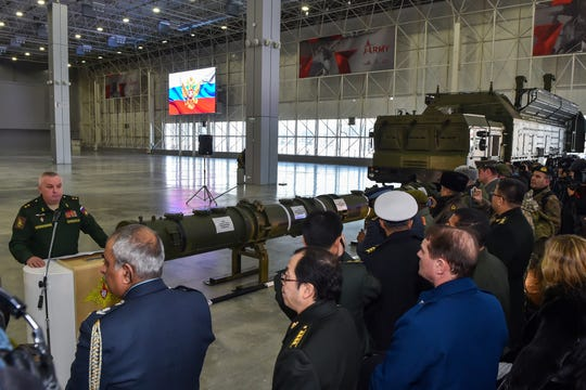 Russian Defence Ministry officials show off the new Russia's 9M729 missile at the military Patriot park outside Moscow on January 23, 2019.