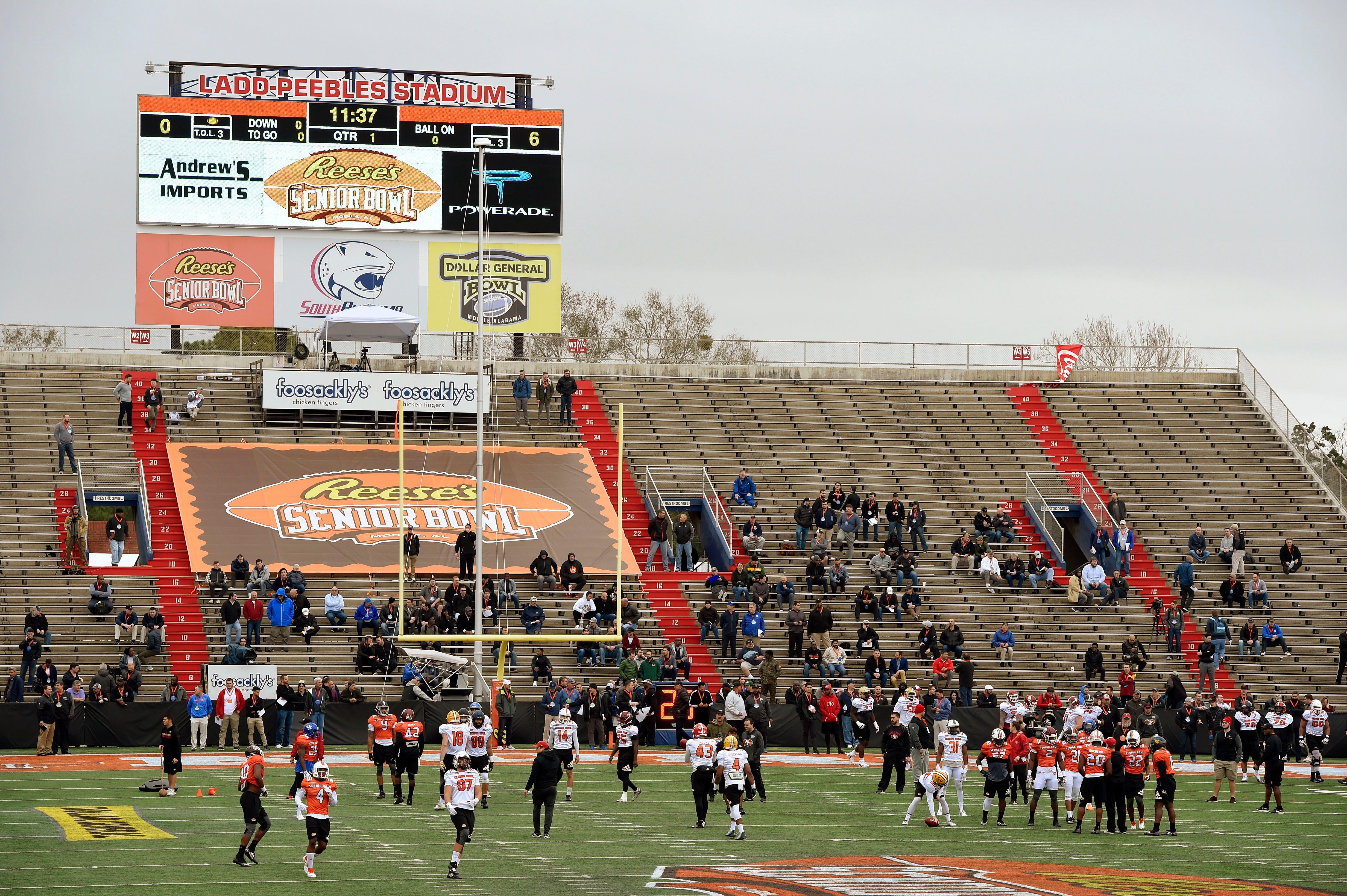 South squad runs through drills during the Senior Bowl practice at Ladd-Peebles Stadium.