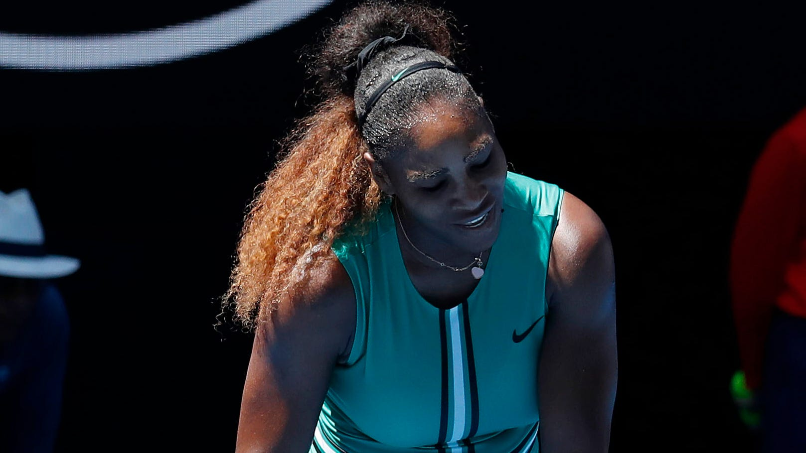 Serena Williams reacts while playing against Karolina Pliskova during the quarterfinals of the Australian Open.