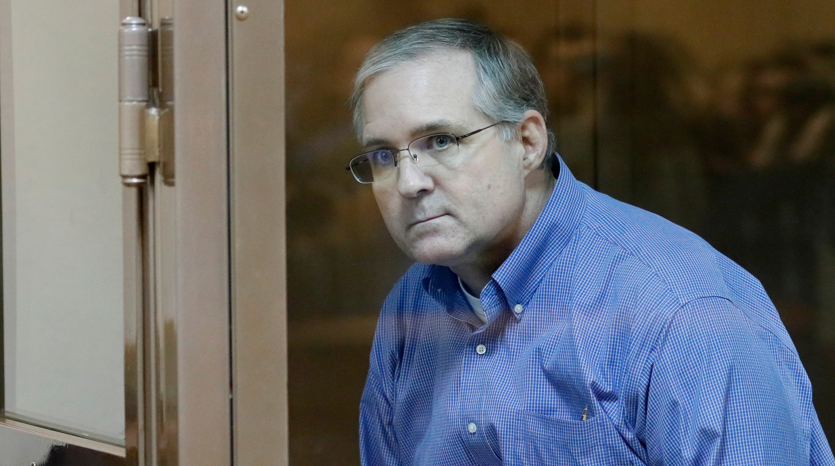 Suspected spy Paul Whelan is seen inside a defendant's glass cage during a hearing of an appeal on his arrest at the Moscow City Court in Moscow, Russia, 22 January 2019. Paul Whelan, a citizen of the United States, Britain, Canada and Ireland, was detained by Russian Federal Security Service (FSB) on suspicion of spying at the end of December 2018 in Moscow. If found guilty he could be sentenced up to 20 years in jail, media reported.