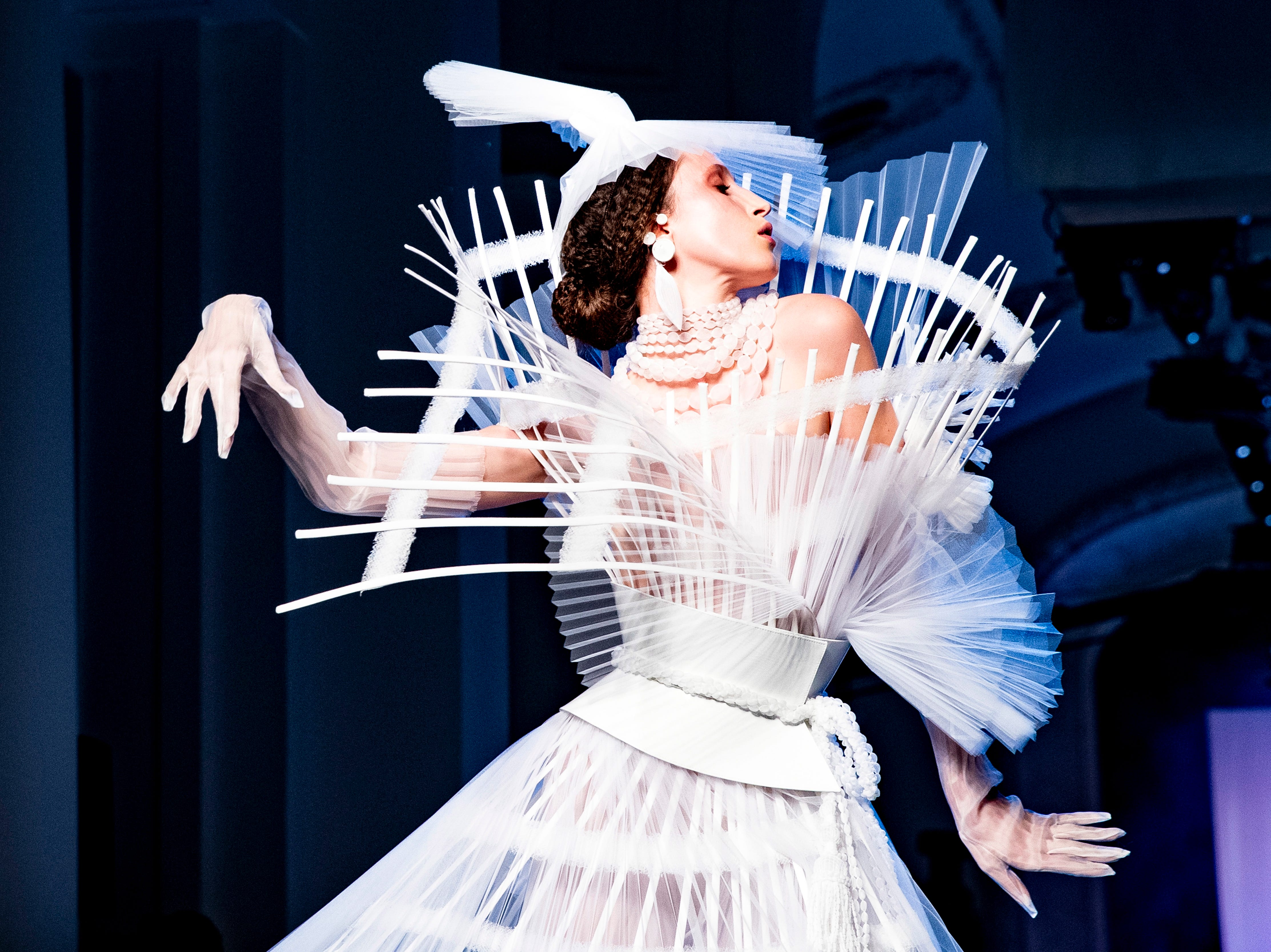 epa07312429 US model Anna Cleveland presents a creation from the Spring/Summer 2019 Haute Couture collection by French designer Jean-Paul Gaultier during the Paris Fashion Week, in Paris, France, 23 January 2019. The presentation of the Haute Couture collections runs from 21 to 24 January.  EPA-EFE/ETIENNE LAURENT