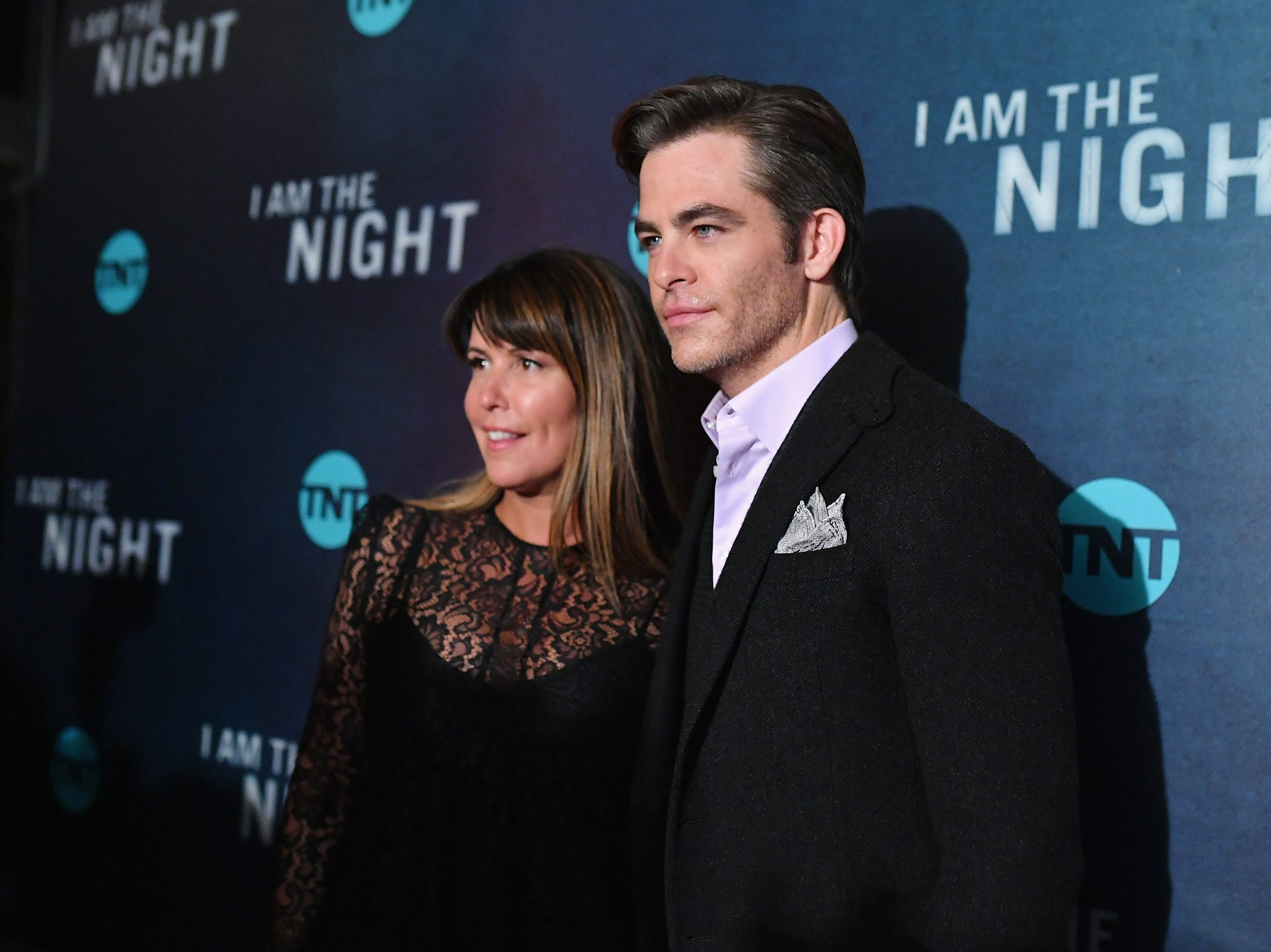 """NEW YORK, NEW YORK - JANUARY 22: Patty Jenkins (L) and Chris Pine attend the """"I Am the Night"""" Premiere at Metrograph on January 22, 2019 in New York City. 484171  (Photo by Mike Coppola/Getty Images for TNT) ORG XMIT: 775244601 ORIG FILE ID: 1098132876"""