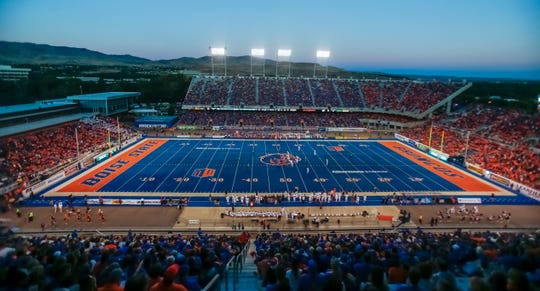 A general view of Boise State's Albertsons Stadium. The Broncos are the defending Mountain Division champions.