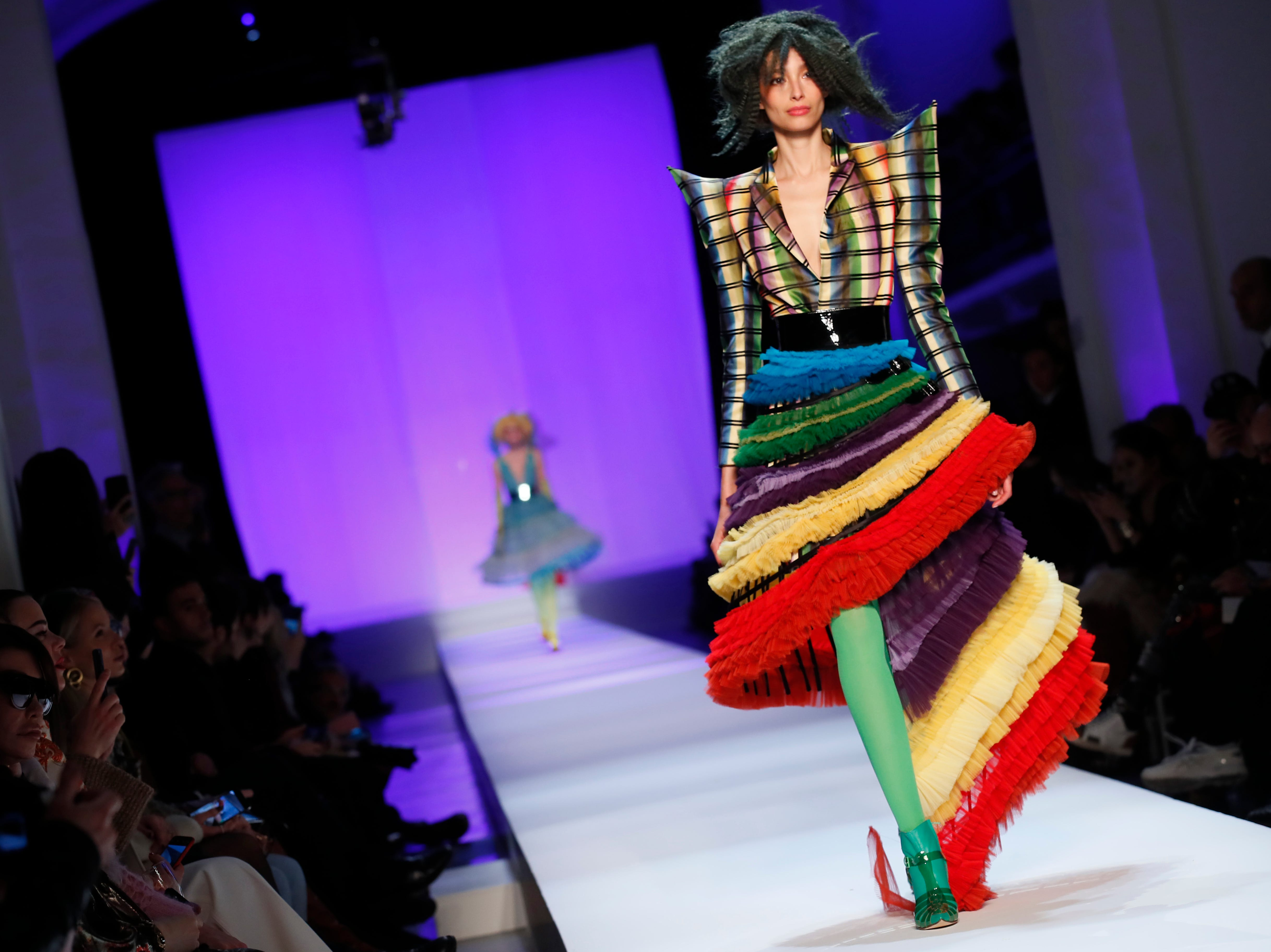 A model wears a creation for Jean-Paul Gaultier's Spring/Summer 2019 Haute Couture fashion collection presented in Paris, Wednesday Jan.23, 2019. (AP Photo/Francois Mori) ORG XMIT: NYOTK