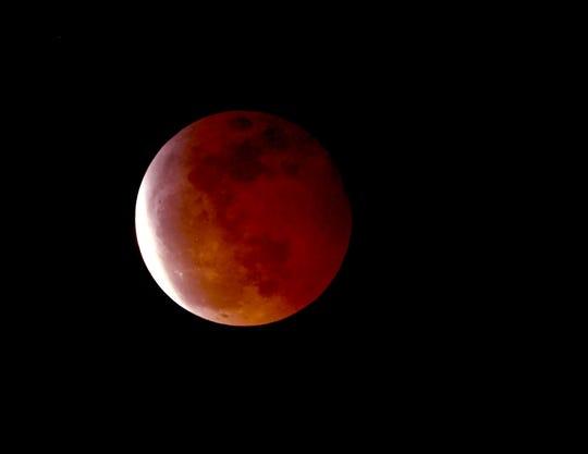 The super blood wolf moon eclipse is seen Jan. 20 in Burbank, California.