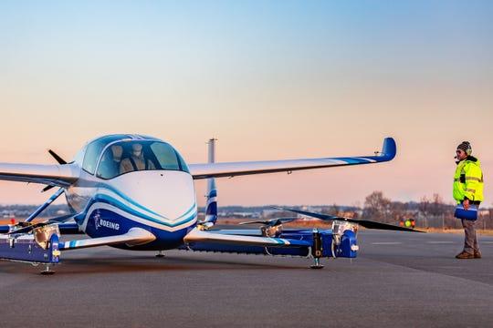 Boeing's prototype of an autonomous air taxi.