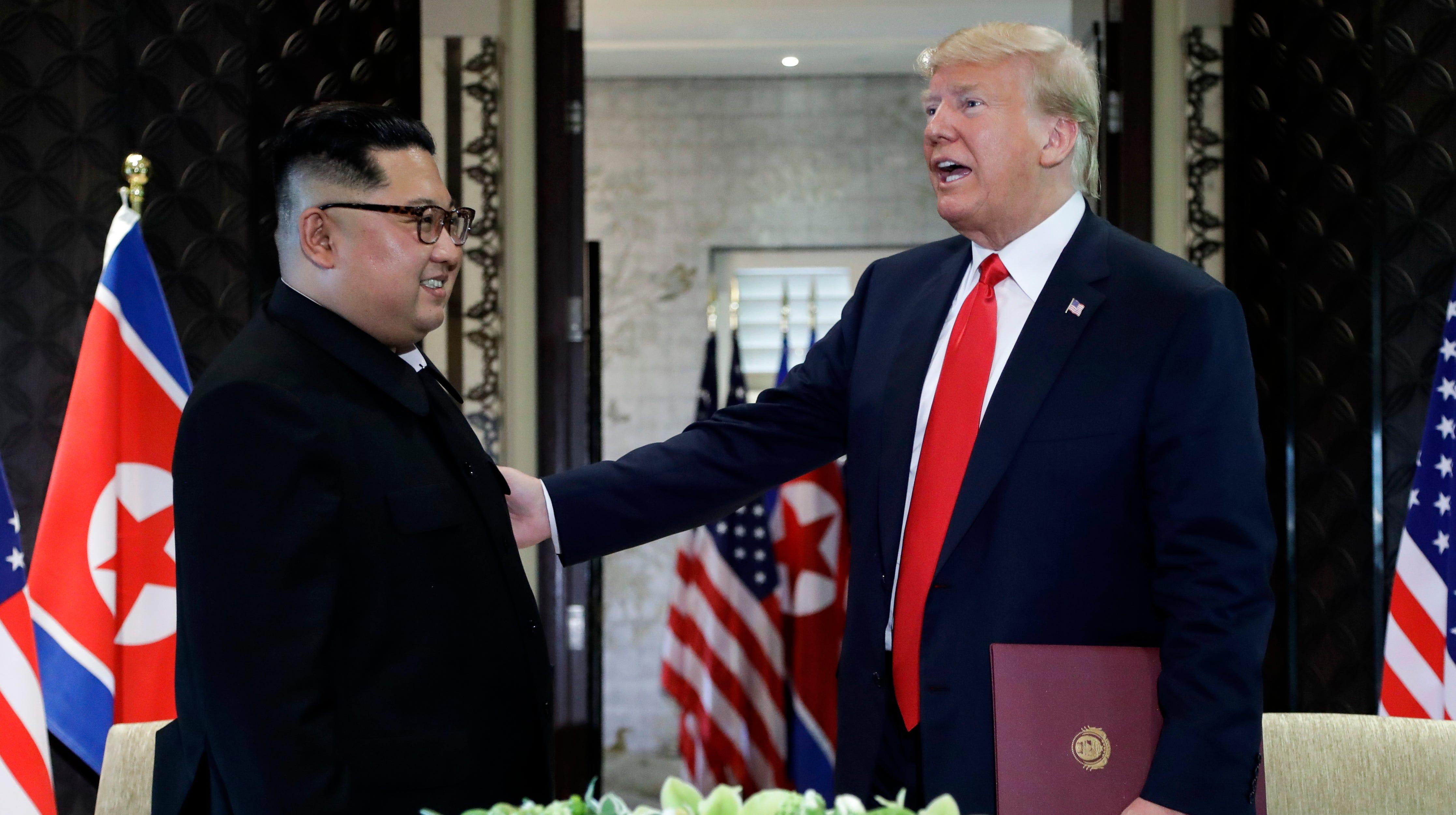 President Donald Trump and North Korea leader Kim Jong Un at their Singapore meeting in June.